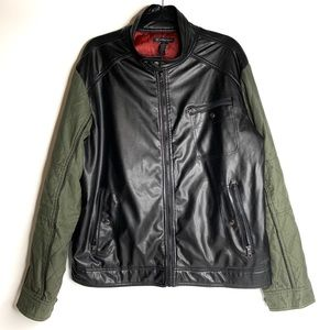INC Faux Leather and Cotton Moto/Bomber Jacket
